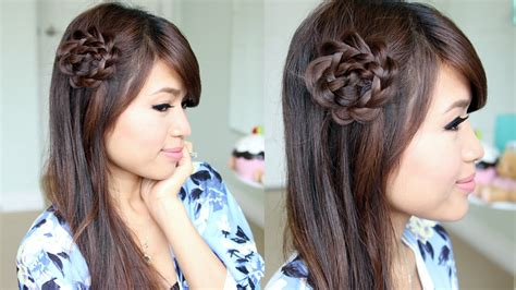 hairstyle design youtube rosette flower braid hairstyle for medium long hair