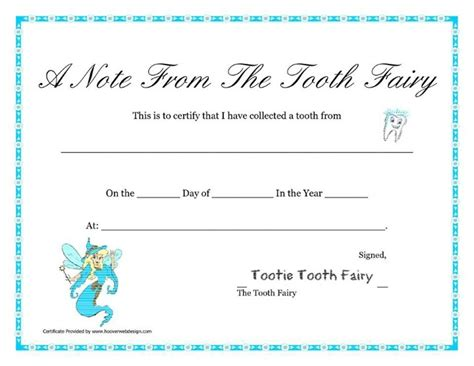 tooth certificate