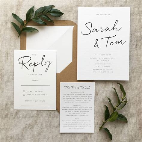 Stationary Wedding by Minimalist Wedding Invitation By Pear Paper Co