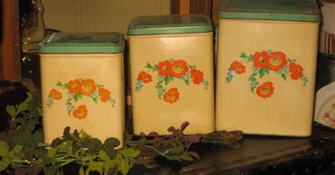 retro orange poppies kitchen canisters set and breadboard square canister set hall orange poppy pinterest