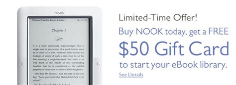 How Do You Redeem A Nook Gift Card - b n offers 50 gift card with nook best ebook readers