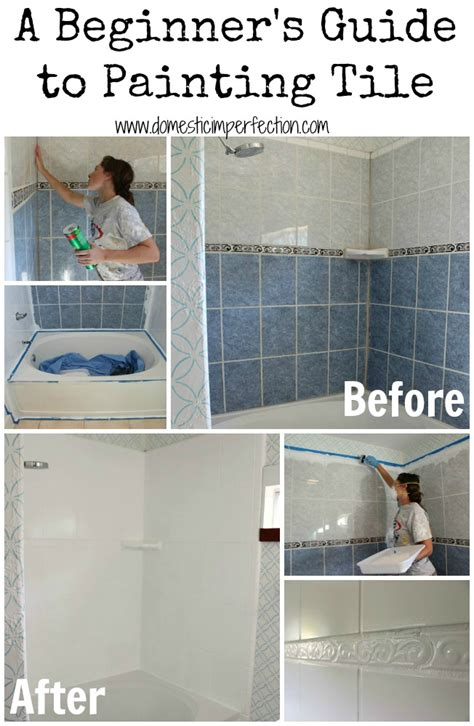 Painting Bathroom Tile In Shower How To Refinish Outdated Tile Yes I Painted My Shower Domestic Imperfection