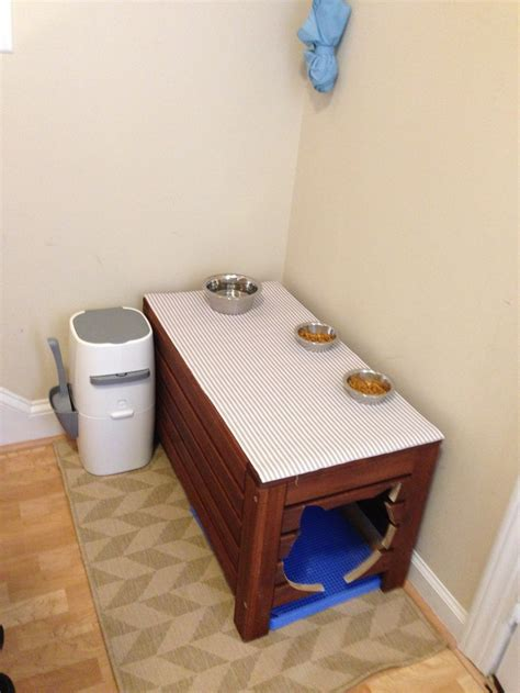cat box bench my cat litter box feeding station i did an ikea hack of