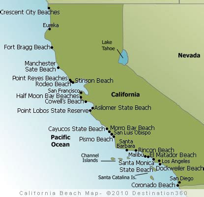 map of beaches in us best beaches california map
