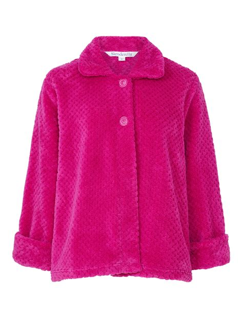 bed jackets slenderella ladies button up soft waffle fleece bed jacket