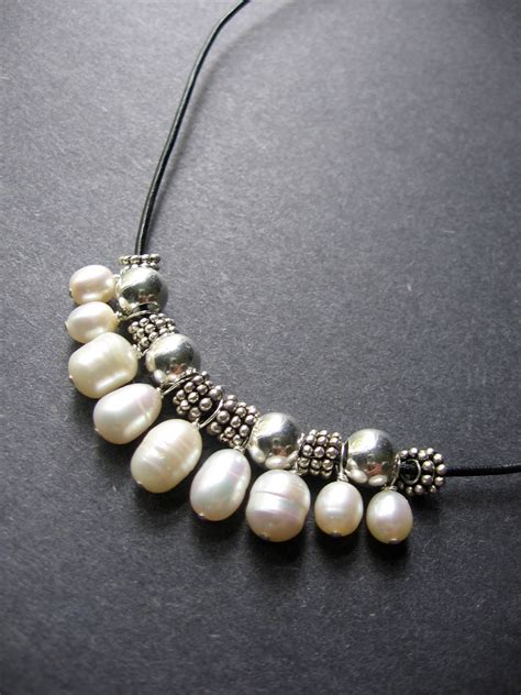 leather and pearl jewelry pearl necklace leather pearl necklace tremont necklace