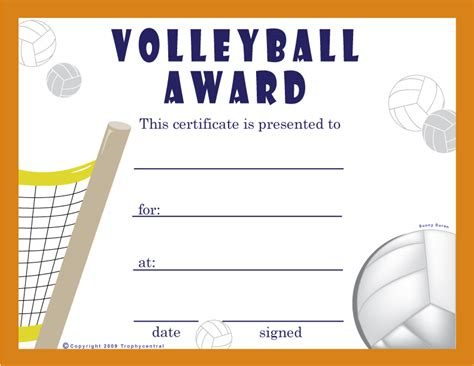 free printable volleyball award certificates