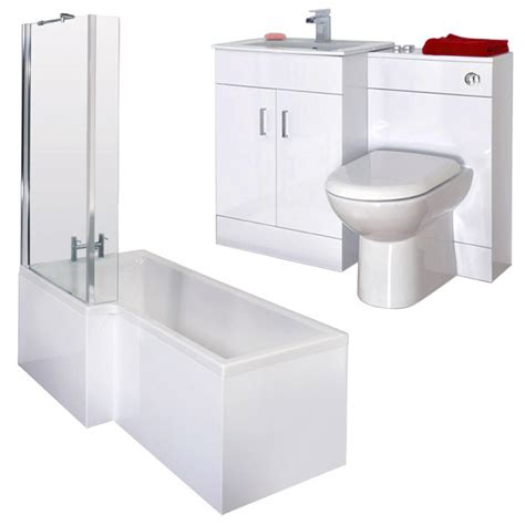 turin high gloss white vanity unit bathroom suite with