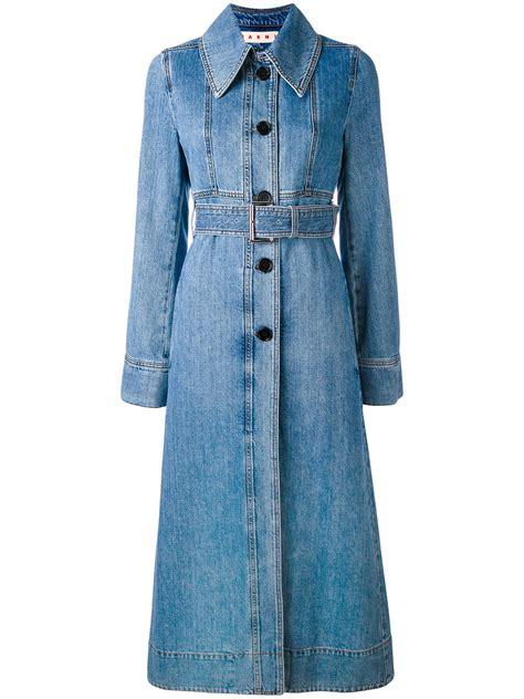 Blue Print Belted Denim Ml marni belted denim coat thisnext