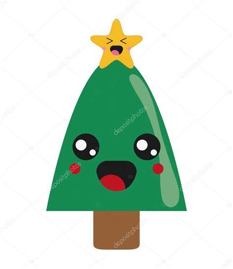 imagenes de arboles de navidad kawaii icono de 225 rbol de navidad de kawaii vector de stock