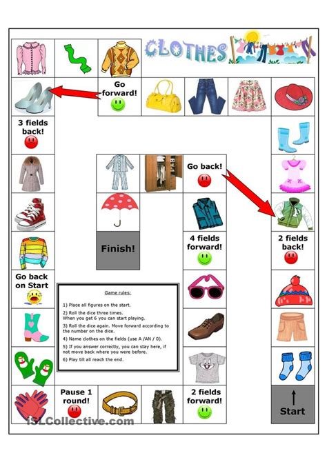 clothes board game worksheet free esl printable