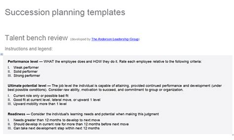 employee succession plan template khafre