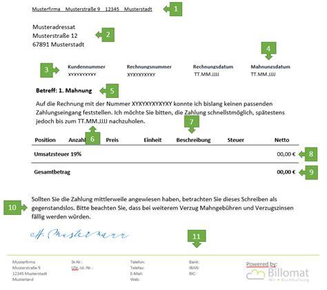 Erste Mahnung Rechnung Muster 1 Mahnung F 252 R Freiberufler Vorlage Muster