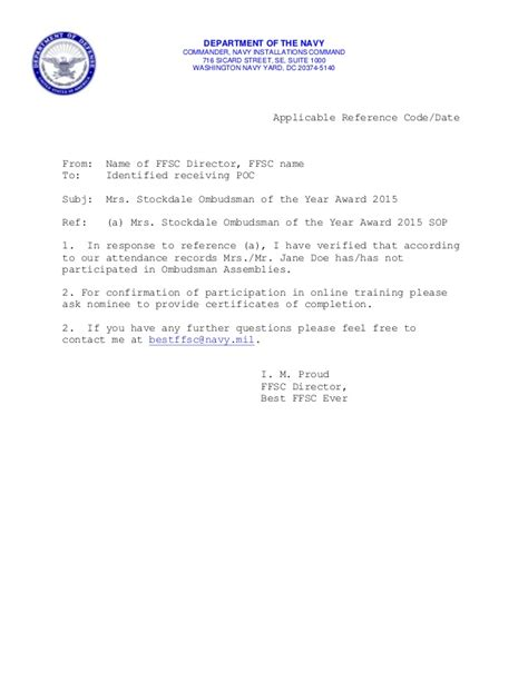 Appointment Letter Navy 28 Navy Ombudsman Appointment Letter Mrs Stockdale Ombudsman Of The Year Award 2015 934