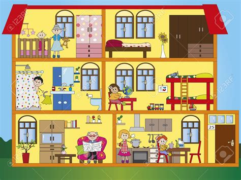 house with rooms bedroom clipart house interior pencil and in color