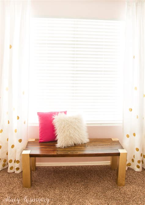 bench in front of window little girl s room refresh gold white blush not just
