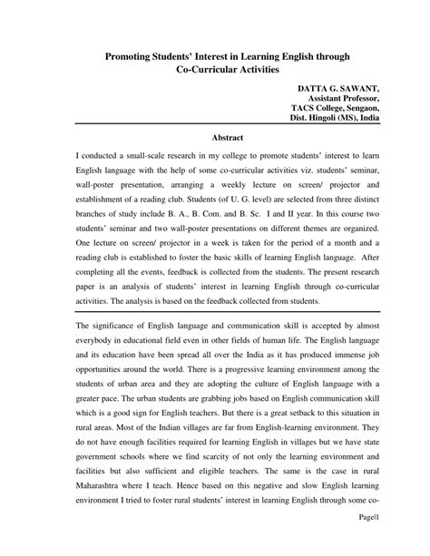 research paper on co curricular activities promoting students interest in learning pdf