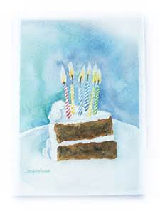 birthday cake watercolor greeting card by from susan
