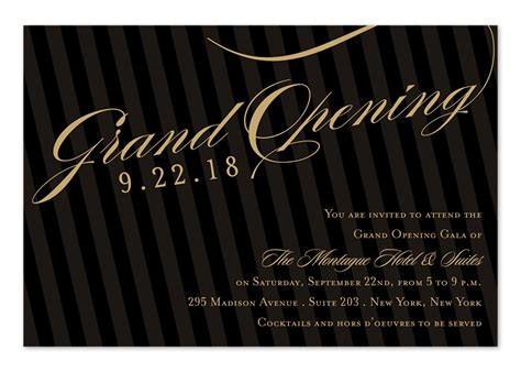 grand opening stripes corporate invitations by