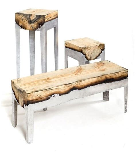 wooden her bench wood casting concrete and wood benches tables by hilla
