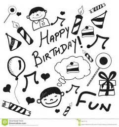 doodle name card concept of happy birthday doodles stock illustration