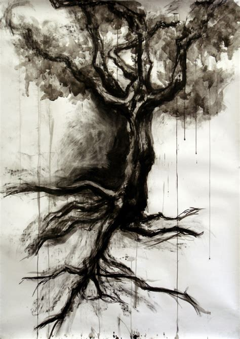 tattoo ink with charcoal tree in charcoal and ink by szmoon on deviantart