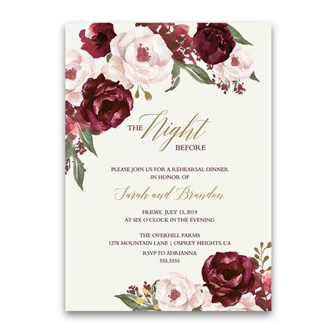 Wine And Gold Template Wedding Invitation Card Sle fall wedding menu burgundy wine gold blush floral