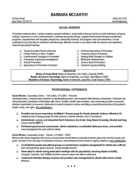social worker resumes sles career objective for social worker resume resume ideas