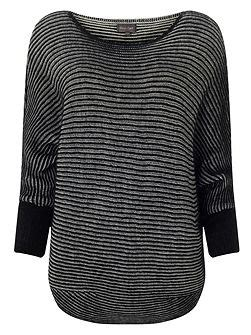 house of fraser ls linea machine washable merino ls tipped jumper black