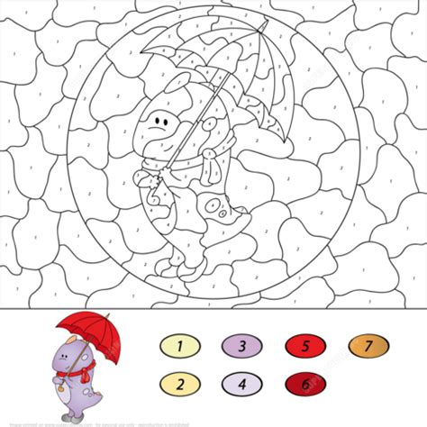 cute number coloring pages cute dragon with umbrella color by number free printable