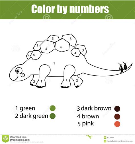 educational dinosaur coloring pages coloring page with dinosaur stegosaurus color by numbers