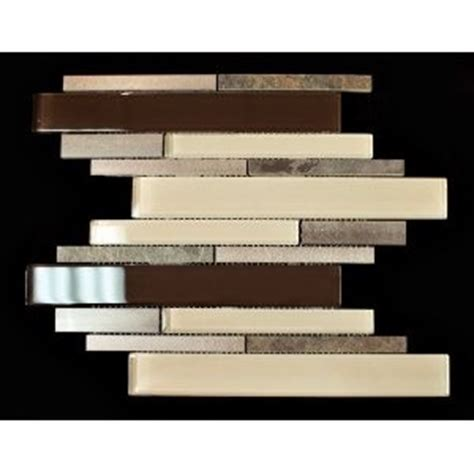 aluminum slate brown beige glass backsplash mosaic
