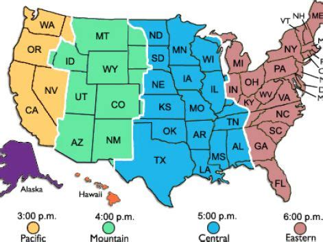 us map of states with time zones time zone map usa printable