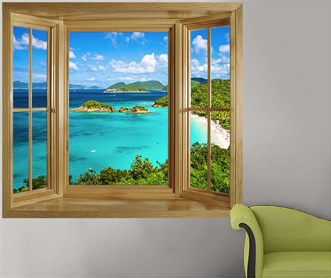 window wall murals illusion window murals tropical wall decals other metro by fever
