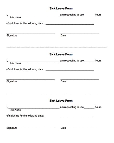 sick leave form template employee forms excel personnel services