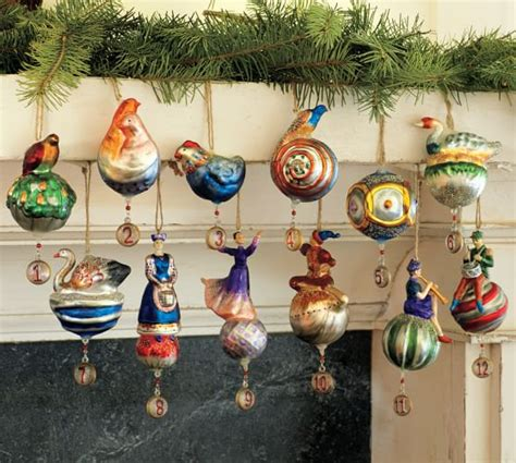 twelve days of christmas ornaments set of 12 pottery barn