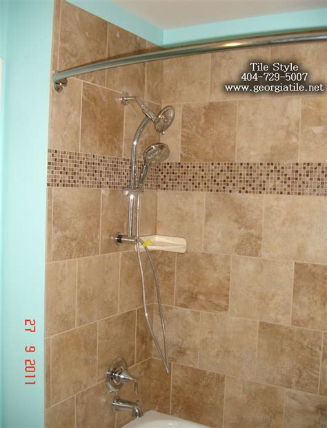 Bathroom Tub To Shower Remodel Tile Style Travertine Tub Shower Remodel Alpharetta Ga