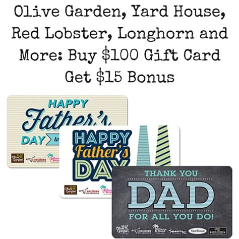 Yard House Gift Cards - olive garden yard house red lobster longhorn and more buy 100 gift card get 15 bonus