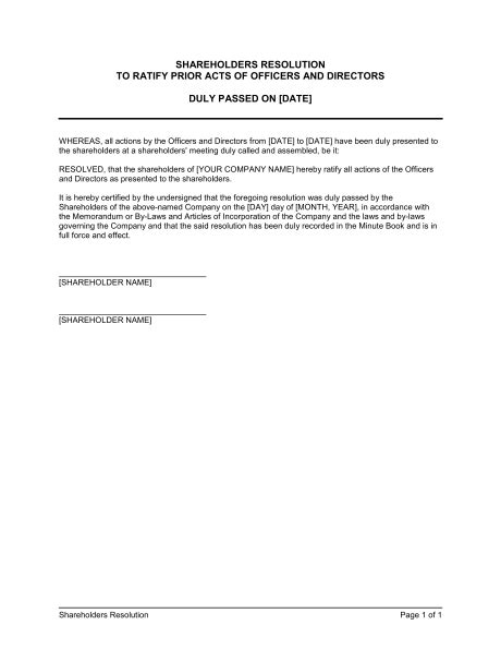 letter of resolution template shareholders resolution ratyfing prior acts of officers