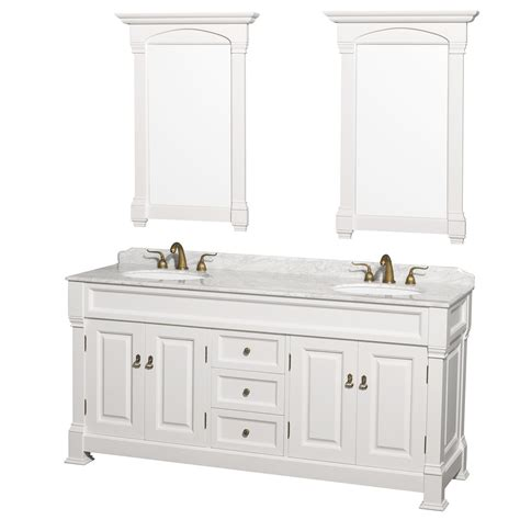 72 inch white finish bathroom vanity marble top set