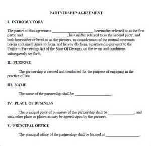 Restaurant Partnership Agreement Template by Sle Partnership Agreement 7 Documents In Pdf Word
