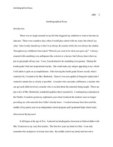 autobiographical essay for graduate school sle autobiographical essay