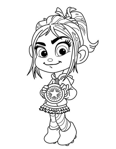 vanellope von schweets showing her medal in wreck it ralph