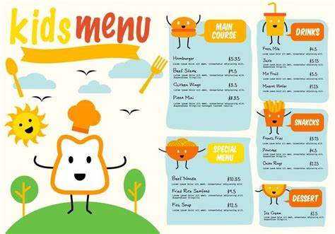 top 7 free vector of kids restaurant menu vector panic