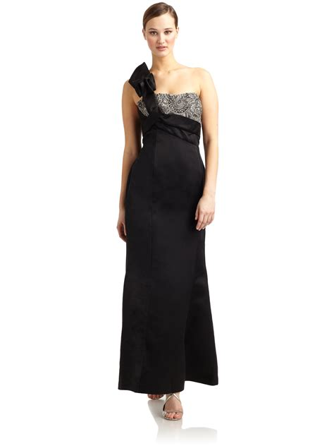 one shoulder beaded gown giorgio armani ruffled one shoulder beaded silk gown in