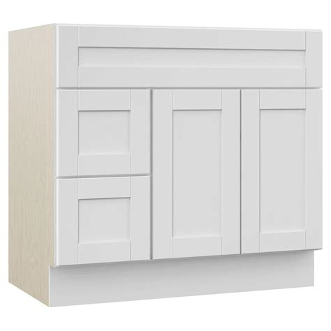 white vanity with drawers on left masterbath stirling 36 in w x 21 5 in d x 33 5 in h