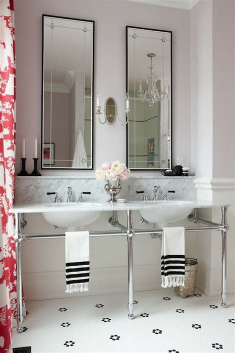 marble top double washstand contemporary bathroom