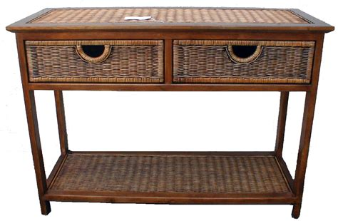 Rattan Console Table Jersey Wicker Rattan Wood 2 Drawer Console Table Ebay