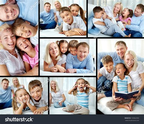 photo collage at home collage happy family resting home stock photo 103862393