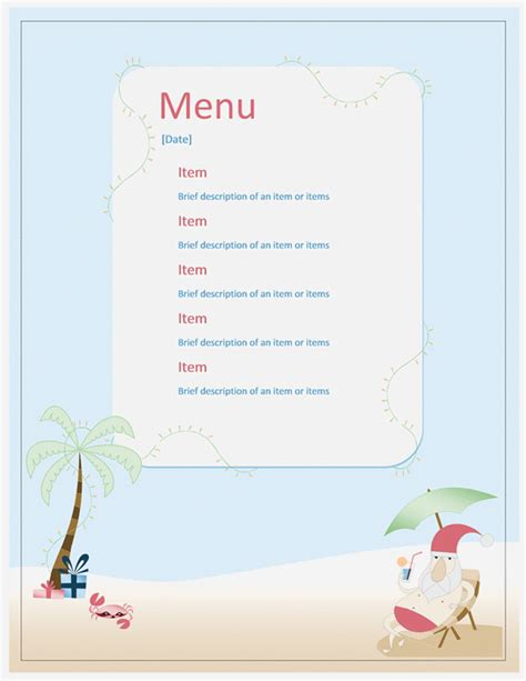 word templates for a menu beach party menu template microsoft word templates